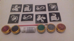 Snake glitter tattoo set for boys  including stencils + 5 pots of color +  glue   children   present   Fund Raising cobra